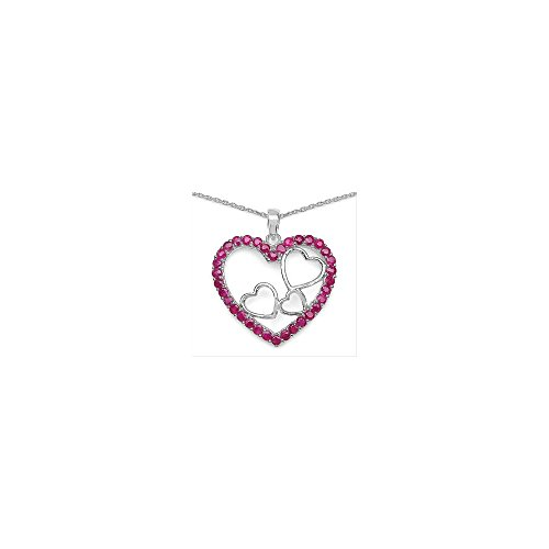 Pendentif Valentine rubis. Argent massif 925 rhodié