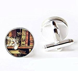 Silver Cat Plated Cufflinks - Vintage Books and cat Photo Glass Cuff Links-Silver Librarian Books Cufflinks for Men Women-Handmade Teacher Writer Reader Christmas Gift
