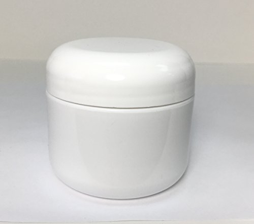 2oz Double Wall Round-Base White Plastic Jar with Foil Lined Dome Lid by USA Bottle Supply