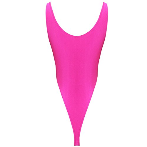 iEFiEL Womens One Piece High Cut Leotard Thong Bodysuit (Pink)