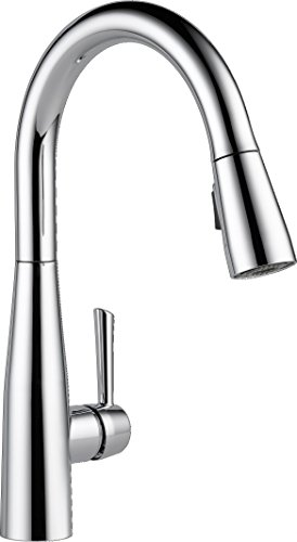 Delta Faucet Essa Single-Handle Kitchen Sink Faucet with Pull Down Sprayer and Magnetic Docking Spray Head, Chrome 9113-DST (Mount Faucet Gooseneck Deck Nozzle)