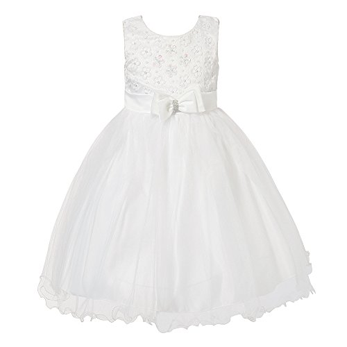 Richie House Girl Princess Dress with Layered Mesh Bottoms and Bow RH1935 A 6/7 FBA/ White