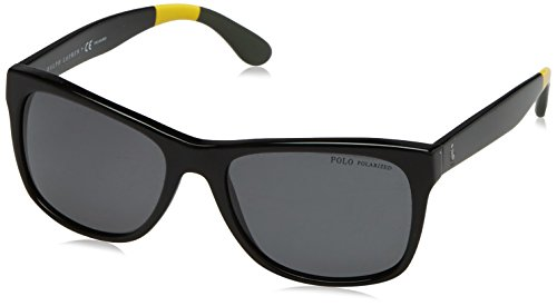 Polo Ralph Lauren Men's 0PH4106 Polarized Rectangular Sunglasses, Shiny Black, 57 - Ralph Lauren Sunglasses Polarized