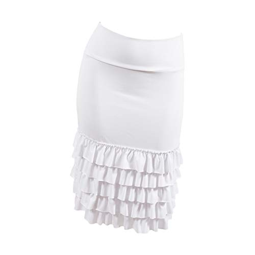 (Peekaboo-Chic Bring On The Frill Half Slip Skirt Extender - Ruffle Skirt Extender - Skirt Extenders for Women - L/XL Bleach White)