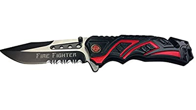 """8"""" Fire Fighter Red MTECH SPRING ASSISTED FOLDING KNIFE Blade pocket open switch- Firefighter Rescue Pocket Knife - hunting knives, military surplus - survival and camping gear"""
