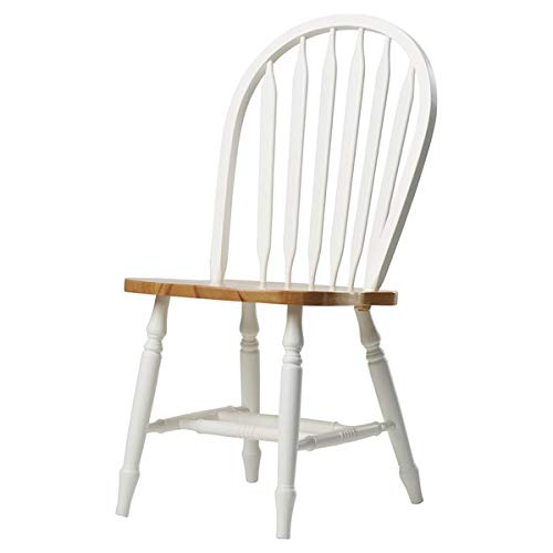 Wood Dining Chair with Turned Legs - Dining Chair with Windsor Back - Set of 2 - White/Natural