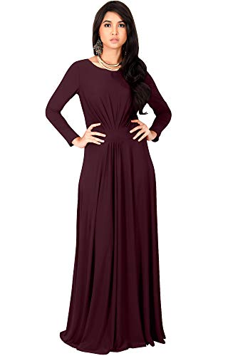 KOH KOH Womens Long Full Sleeve Sleeves Flowy Empire Waist Fall Winter Modest Formal Floor Length Abaya Muslim Gown Gowns Maxi Dress Dresses, Maroon Wine Red L 12-14