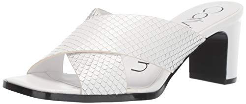 Calvin Klein Women's Dylan Heeled Sandal, White Snake Print, 7 M M US