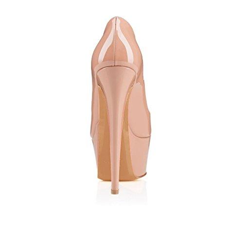 Arc-en-Ciel zapatos de la plataforma de las mujeres bombas de punta redonda Nude