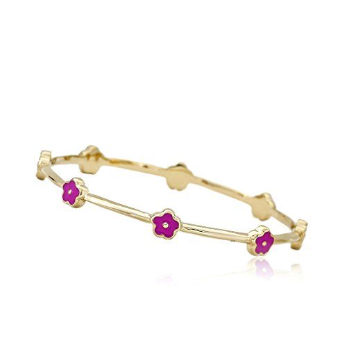 Little Miss Twin Stars Stackable Stunners 14k Gold-Plated Hot Pink Enamel Flowers Thin Bangle/55 mm