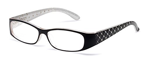 Specs Black Reading Glasses, 2.00 Magnification, Quilted Crystal - Text Sunglasses Face