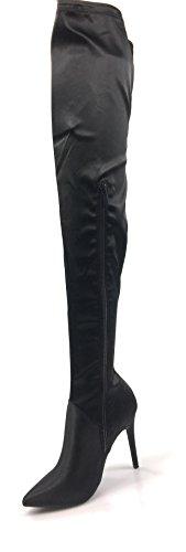 Bamboe Dames Tigh Hoge Laarzen Dichte Teen Slanke Hoge Hak Zijrits Winterpleister Wijden-05 Zwart Satijn