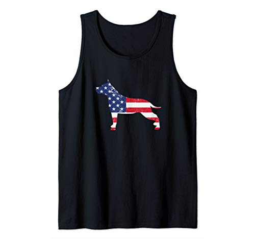 American Staffordshire Terrier American Flag 4th Of July Dog Tank Top
