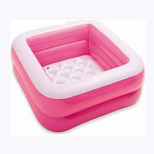SBWFH スクエアインフレータブルバスタブ、現代のベビースイミングプールインフレータブルバスタブ、子供用プール緊縛 (Color : Pink)