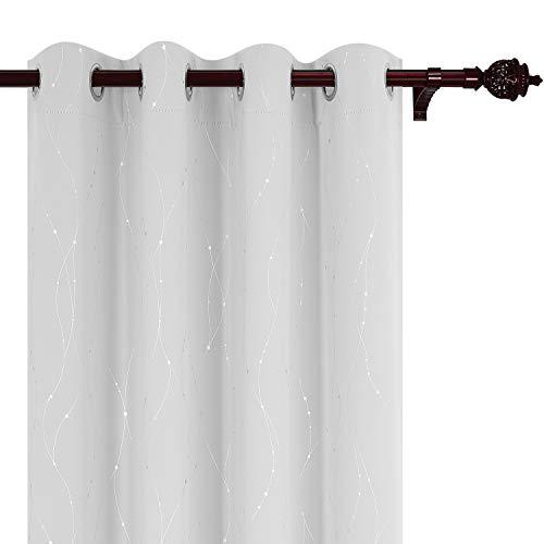 Deconovo Blackout Curtains Wave Line with Dots Foil Print De