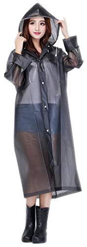 Luz Ambiente Huixin Portable Con Poncho Transparentes Mujeres Impermeable La Capucha Grau Lluvia Y Outdoor Eva De qqwSP7Cxr