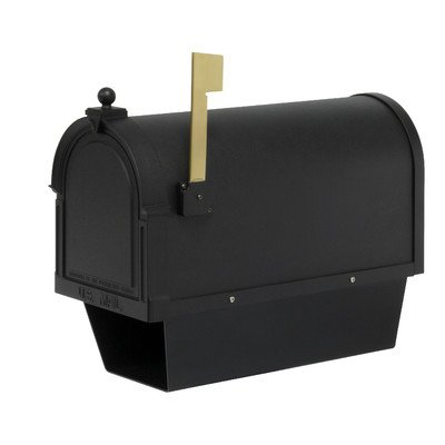 [Berkshire Post Mounted Mailbox with Newspaper Holder] (Black Newspaper Holder)