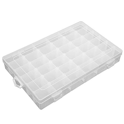 Transparent Plastic Grid Box Storage Organizer for Display Collection with Adjustable Dividers for Bead Storage, Letter Board Letters, Fishing Tackle, Jewelry, Screws (36 Grid)