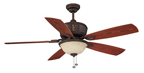 (Litex E-BT52ABZC5C1S Molokai Collection 52-Inch Indoor/Outdoor Ceiling Fan with Five ABS Walnut Blades and Single Light Kit with Scavo Glass)