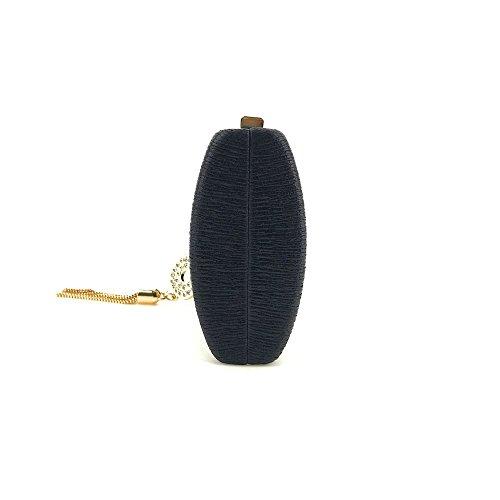 Black Tote Cheongsam Shoulder Messenger Satchel Water Package Bag Dress Women's Clutch Crossbody Ripple Evening q0OpZpnR