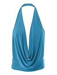 Simlu Womens Ligero Sexy Drape Backless Cowlneck Corte bajo Halter Parte Superior con Material elástico