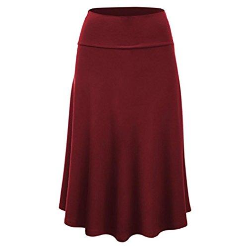 Knit Godet Skirt - SkirtsforWomen's Plus Size Solid Flare Hem High Waist Midi Skirt Sexy Uniform Pleated Skirt Red