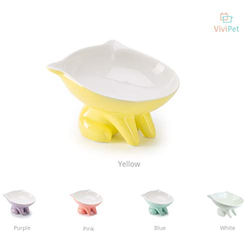 ViviPet Ceramic Q Bowls and Big Head Water Bowl Raised/Evaluated for Small Pet, Cat and Dog Under 20 Pound (Q Bowl-Yellow)
