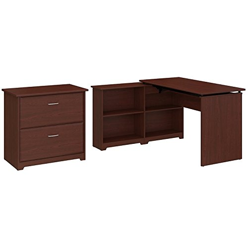 Bush Furniture Cabot 52W 3 Position Sit to Stand Corner Bookshelf Desk with Lateral File Cabinet in Harvest Cherry 3 Shelf Cherry Desk