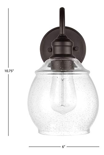 Amazon Brand – Stone & Beam Metal Vanity Light Wall Sconce with Seeded Glass Shade, Vintage Edison Bulb Included, 10.75…