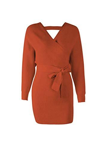 - SHEJIAN Women Dress Knitted Mini Dress Sexy Green Sweater Dress Long Sleeve 18342 Orange L