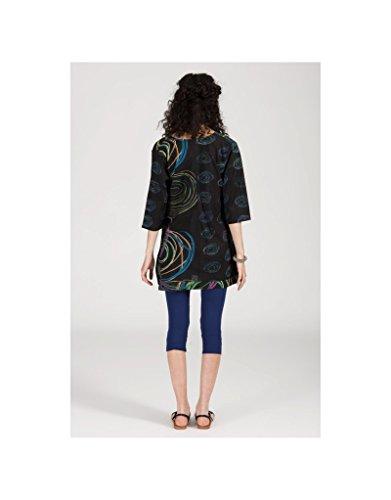 Modeincoton - Mucho algodón de túnica con cuello en v manga 3/4 Modeincoton TUL291 Multicolor