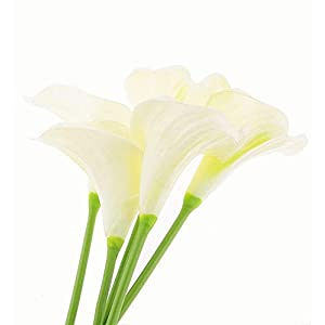 "Meide Group USA 28"" (2.4 ft) Handmade XLarge Real Touch Latex Calla Lilies for Office, Home Decor, Weddings, Floral Arrangements (Pack of 3) 38"