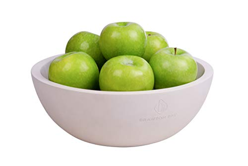 """Decorative Fruit Bowl for Kitchen or Dining Room, Concrete, White - Extra Large Food Bowls for Snacks, Candy - Handmade Kitchen Accessories for Tables and Countertops, 12"""" Diameter"""