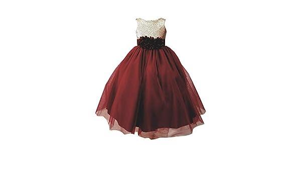 a324b2f2d Amazon.com: Sinai Kids Little Girls Burgundy Champagne Sequin Tulle Flower  Girl Dress 2-6: Clothing