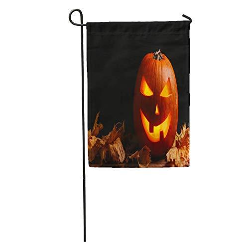 YhouqukehTshirt Garden Flag Orange Scary Halloween Pumpkin Lantern Dry Leaves Head Treat Trick Home Yard House Decor Barnner Outdoor Stand 12x18 Inches Flag -