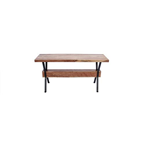 The Urban Port Wooden Top Console Sofa Entry Table, Brown and Black