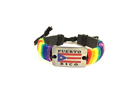 CooL color Boricua style Puerto Rico Leather wristband Bracelets Puerto Rican Wristband rainbow color style - Rico Wristband