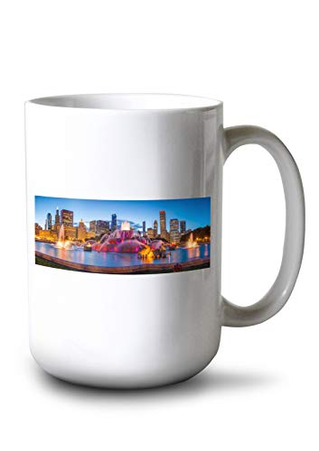 Lantern Press Buckingham Fountain in Chicago, Illinois Photography A-90307 (15oz White Ceramic Mug) (In Illinois Photography)