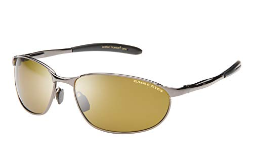 Vega Sports Polarized Sunglasses - Golf - Athletic - Performance Sport Sunglasses -UVA, UVB and Blue Light Blocking Protection - Gunmetal Frames with Trilenium Gold Lenses ()