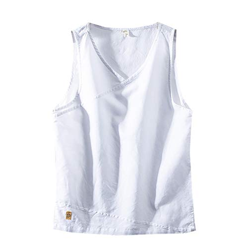 refulgence Mens Slimming Body Vest Chest Shirt Slim Tank Top Cotton Linen Undershirt (White,XXL) (Chest Linen)