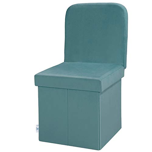 B FSOBEIIALEO Storage Ottoman Velvet with Seat Back, Folding Chair Seat for Living Room, Sturdy Toy Chest Storage Box (Green, Medium)