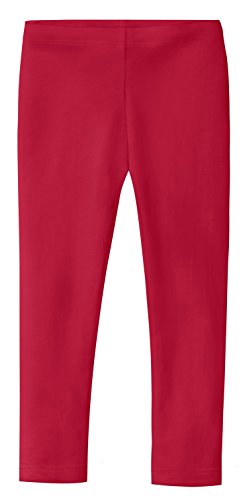 (City Threads Girls' Leggings 100% Cotton for School Uniform Sports Coverage or Play Perfect for Sensitive Skin or SPD Sensory Friendly Clothing, Candy Apple Red,)
