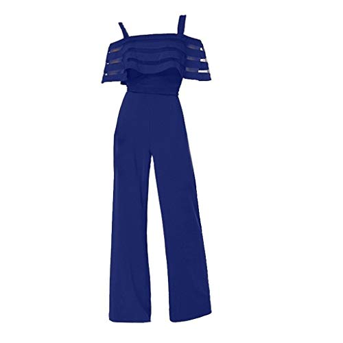 TOTOD Jumpsuits for Women Elegant 2019 High Waist with Cold Shoulders Solid Color Wide Leg Playsuits Romper(Blue,M)