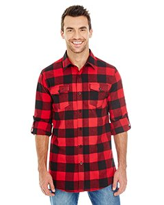 Burnside Yarn-Dyed Long Sleeve Flannel Shirt.B8210 Medium Red / Black Buffalo