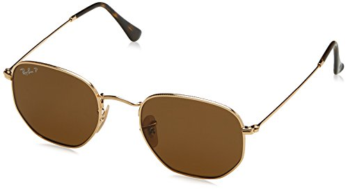 Ray-Ban RB3548N Hexagonal Flat Lenses Sunglasses, Gold/Polarized Crystal Brown, 51 mm