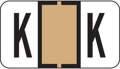 Jeter Compatible AMZfiling Alpha Labels on 3-Ring Binder Sheets- Letter K Tan Polylaminated, 240//Package