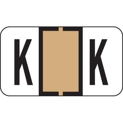 Alphabetical File Folder Labels- Letter K, Tan, Jeter Compatible (Polylaminated, 225/Package)