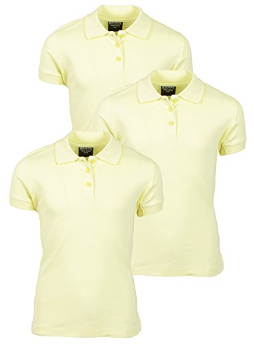 'Beverly Hills Polo Club 3 Pack of Girls\' Short Sleeve Interlock Uniform Polo Shirts, Size 10, Yellow'