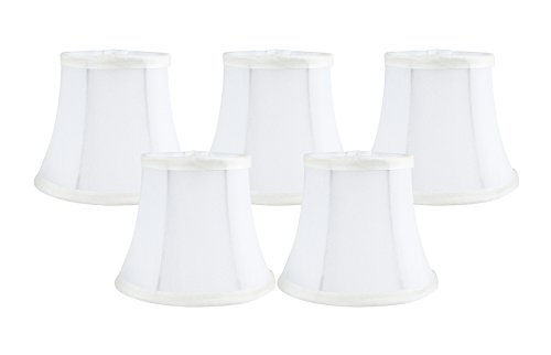 Meriville Set of 5 Off White Faux Silk Clip On Chandelier Lamp Shades, 4-inch by 6-inch by 5-inch ()