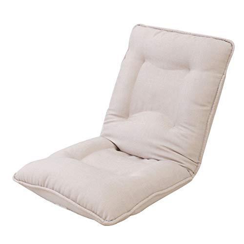 怠惰な厚いソファ折りたたみ式コンピュータソファチェアバルコニーランチブレイクソファベッド5速調節可能な椅子多機能リクライニングチェア耐荷重120 KG(カラー:ベージュ、サイズ:52 * 52 * 60 cm) B07STYFX45